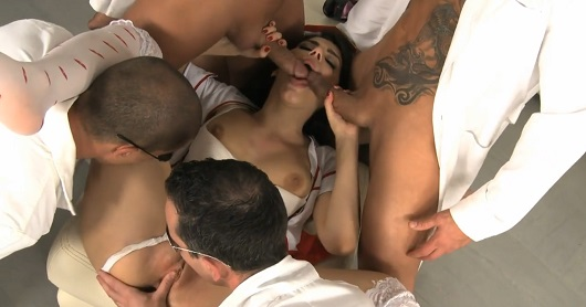 A crowd of guys at the same time fuck a nurse